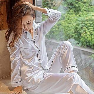 مجموعات بيجامات من الحرير الحرير الحرير للنساء ملابس داخلية الخريف أنثى ملابس نوم طويلة الأكمام بدلة نوم ملابس نوم كاجوال