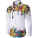 CNSTORE Men's Colorful Splatter Paint Pattern Turndown Collar Casual Long Sleeve Shirt White