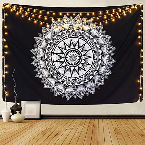 Alishomtll Wandteppich Mandala Tuch Wandtuch Indisch Bohemien Hippie Wandteppich Schwarz und Weiß Wandbehang Tapisserie 150 x 210 cm