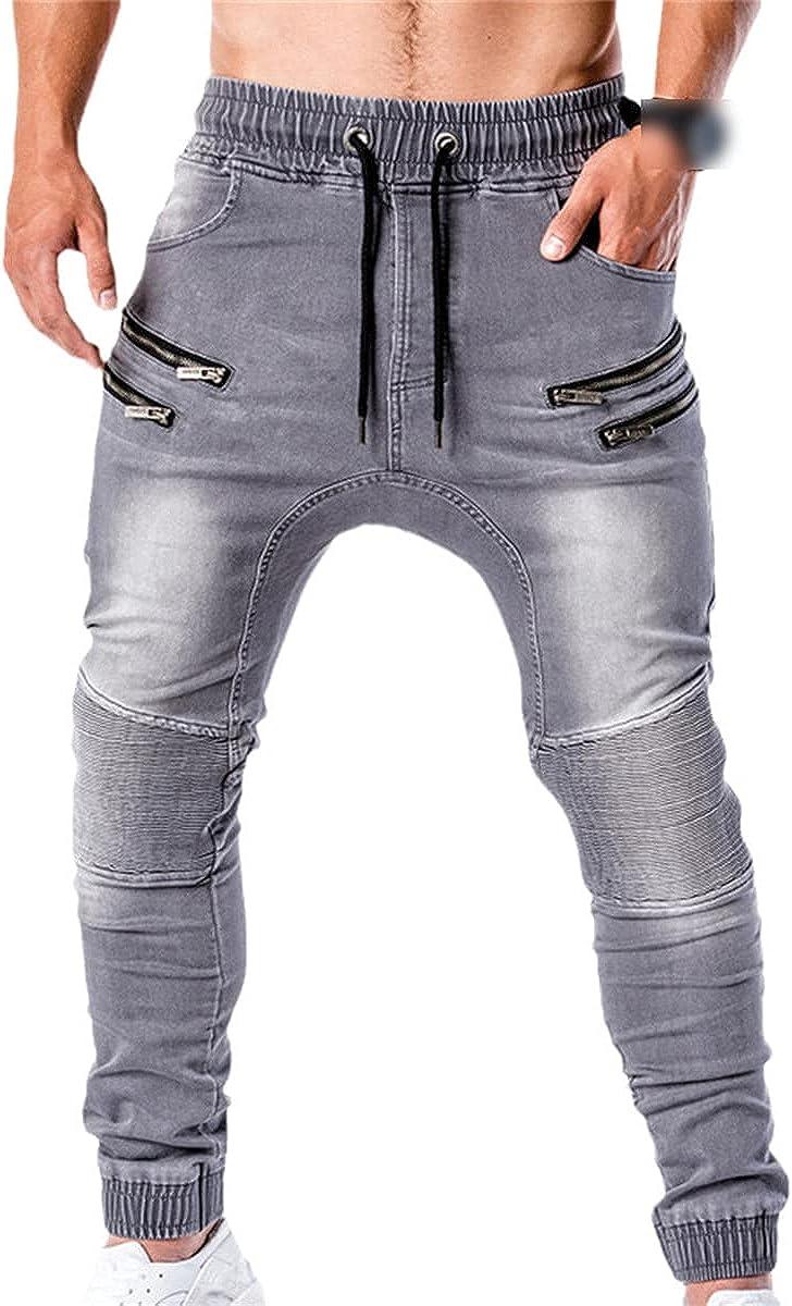 CACLSL Men's Jeans Casual Running Zipper Fashion Slim Denim Trousers