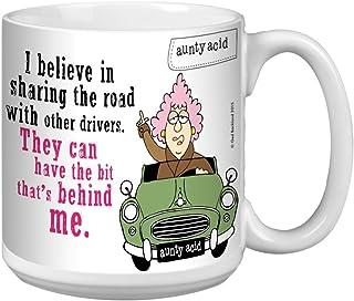 Tree-Free Greetings Extra Large 20-Ounce Ceramic Coffee Mug, Aunty Acid Drive Behind Me