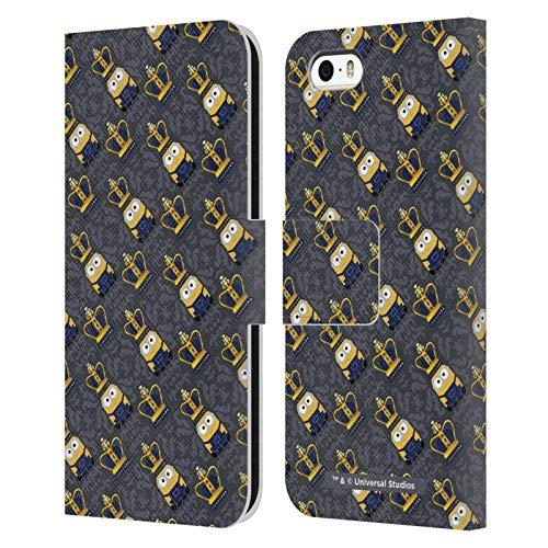 Head Case Designs Licenza Ufficiale Minions Re Bob Corona Modello Minion Invasione Britannica Cover in Pelle a Portafoglio Compatibile con Apple iPhone 5 / iPhone 5s / iPhone SE 2016