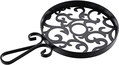 Minkissy Round Cast Iron Pot Holder Decorative Vintage Cup Pads Non- Slip Coasters for Kitchen Countertop Dinning Room Black