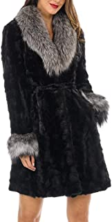 Real Sculptured Fur Coat - Mink Fur with Silver Fox Fur Collar