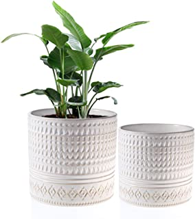 """Voeveca Ceramic Flower Pot Garden Planters 6.9"""" and 5.5"""" Set of 2 Indoor Outdoor, Modern Nordic Style Plant Containers …"""