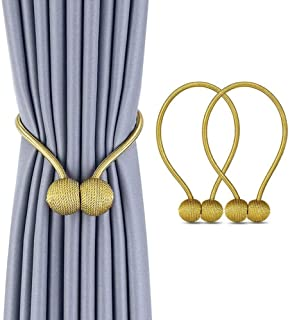 1 Pair Magnetic Curtain Tiebacks Decorative Rope Holdback Holder for Home Kitchen Office Window Sheer Blackout Drapes Golden