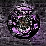 BFMBCHDJ Reloj de Pared de Hockey Diseño Moderno Relojes de lámpara LED con Siete Colores Cambio 3D Reloj de Pared Decorativo Decoración para el hogar Silencioso