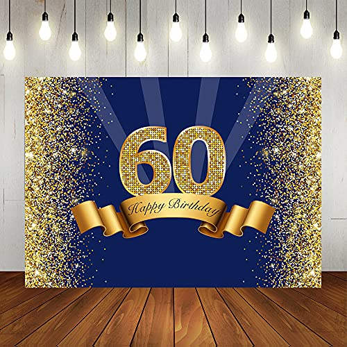 Lofaris Happy 60th Birthday Photography Backdrop for Adult Men Navy Blue and Glitter Gold Sixty Years Old Background Shiny 60th Anniversary Party Decorations Photo Booth Props 7x5ft