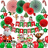 Kafanni Christmas Party Decoration Packs Merry Christmas Party Supplies Kits with Paper Fans, Balloons, Banners, Hanging Swirls and Photo Props