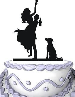 Meijiafei Bride Groom Holds Drunk Bride with Dog Silhouette Wedding Cake Topper