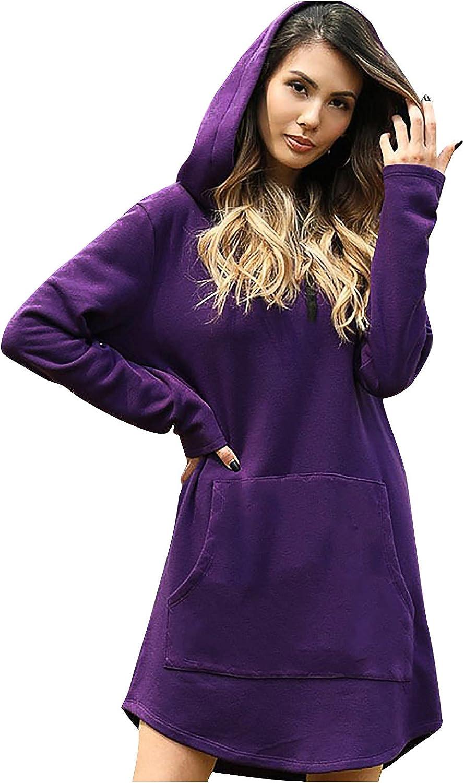 Rpvati Women's Fashion Casual Solid Hooded Pocket Drawstring Sweater Long Sleeve Dress
