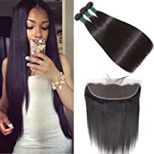 Brazilian Straight Hair Bundles with Frontal (14 16 18+12 Frontal) Ear to Ear Lace Frontal Closure with Bundles Brazilian Straight Frontal with Bundles Baby Hair Natural Black Color