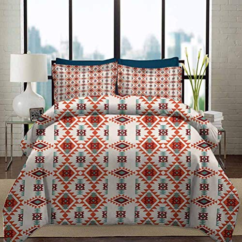 Southwestern Bedding Duvet Cover Set Twin Size Folkloric Aztec Triangle Ornament Ancient Tribe and Culture Decorative 3 Piece Bedding Set with 2 Pillow Shams for Kids Chesnut Brown Seafoam Orange