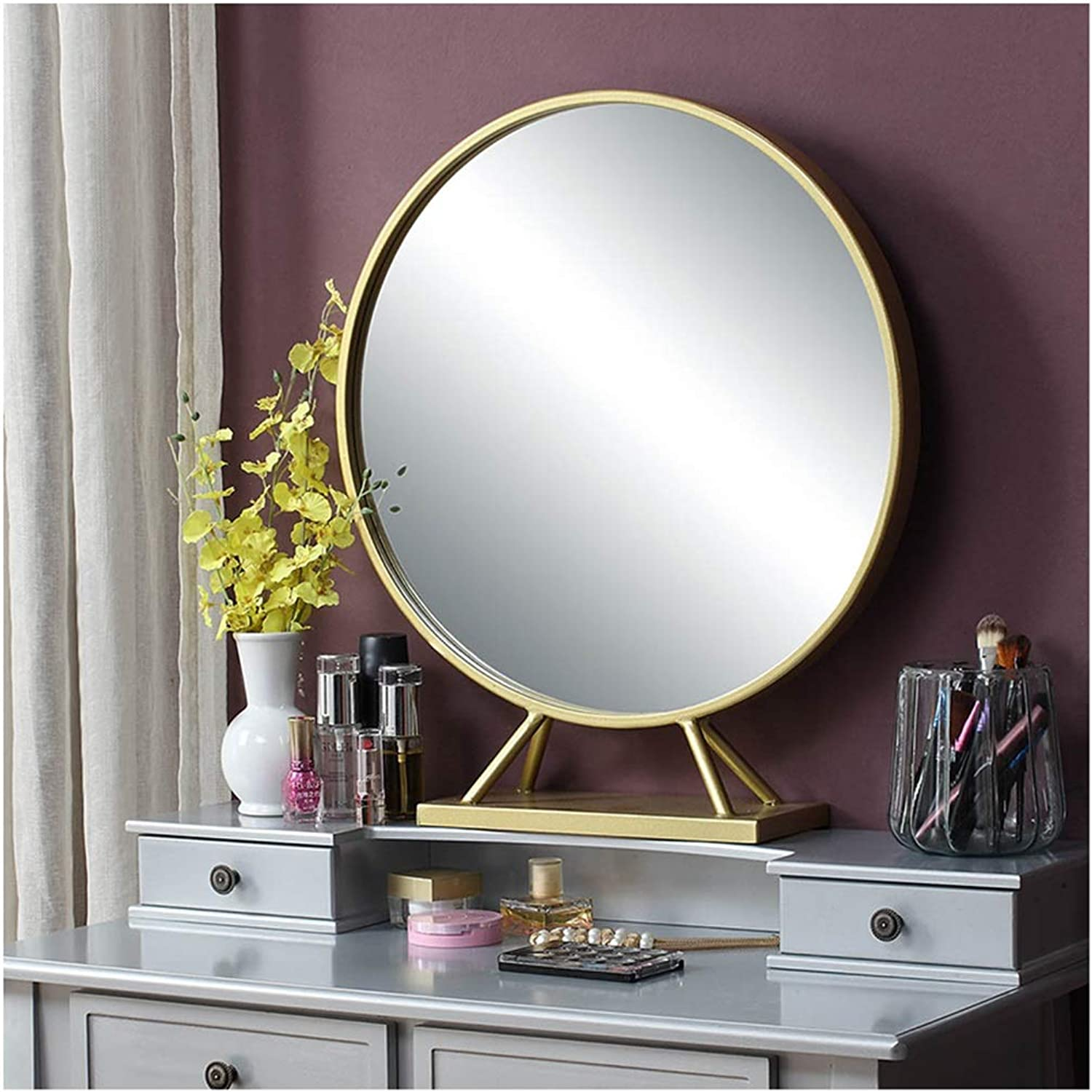 YYF Nordic Minimalist Bathroom Round Mirror Black and White Two colors with Mirror Bracket (color   gold, Size   50cm)