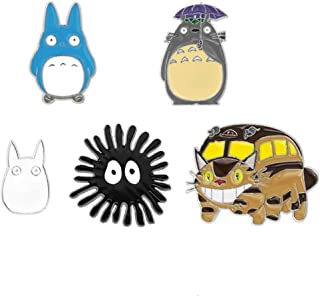 Kimkoala Cute Enamel Pins, 5Pcs Cartoon Anime Spirited Away Totoro Animal Figures Brooch Lapel Badge for Women Girls Children Clothing Backpack Decoration Gift