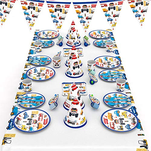 McNory 66 Stück Autos Fahrzeuge Party Geschirr Set Kinder Geburtstag Party Deko und Geschirr Kit ,Baufahrzeug Partyzubehör Teller,Becher,Tischdecke usw,Geburtstagsfeier,Kindergeburtstag,Baby Shower