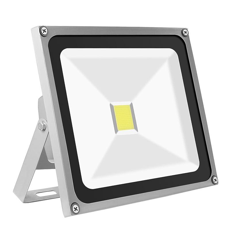現在印象的あえてKIWEN LED投光器 50W LEDライト 昼光色 銀色 作業灯 看板灯 集魚灯 駐車場用 防水 長寿命 1年品質保証