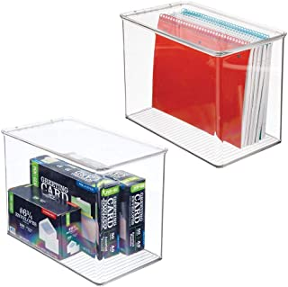 "mDesign Tall Plastic Desk Organizer Bin Box for Home Office, 9"" High - Clear Pack of 2 Clear"