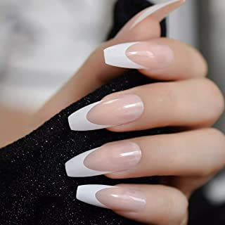 CoolNail White French Ballerina Fake Nails Natural Nude Coffin Flat False Nail Tips for Salon Party Faux Ongle Free Adhesive Tapes