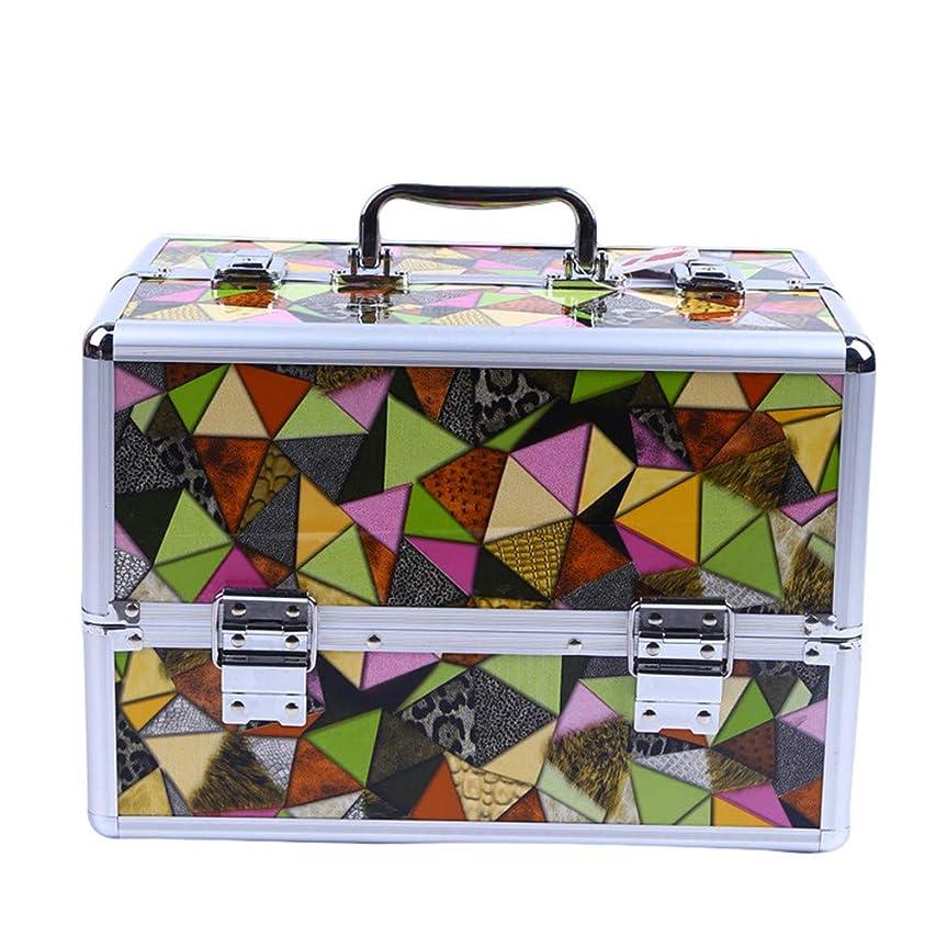 正直シリーズ高める化粧オーガナイザーバッグ 高容量ポータブルPUレザー化粧品美容メイクアップ化粧ケース幾何学模様と折り畳みトレイ 化粧品ケース