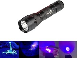 WindFire Wf-502b 1 Mode 395-410nm UV-Ultraviolet Led Blacklight Flashlight 18650 Rechargeable Battery UV Light Torch with Features Money Detector Leak detector Cat-Dog-Pet Urine Detector(No Battery)