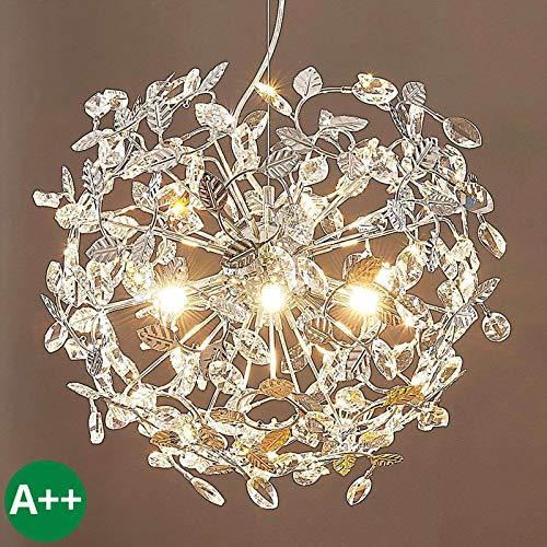 Lampenwelt Pendelleuchte 'Bjarne' dimmbar (Kristall) in Chrom aus Metall u.a. für Wohnzimmer & Esszimmer (4 flammig, G9, A++) - Deckenlampe, Esstischlampe, Hängelampe, Hängeleuchte, Kristall