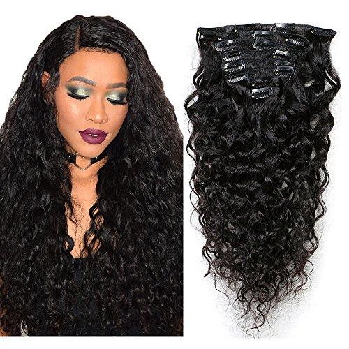 Mila 20inch/50cm 8 pieces Clip in Hair Extensions 100% Human Hair Brazilian Virgin Hair Natural Wave Frises Naturel Noir 1B 120gram/Set