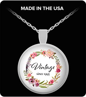 DesiDD 24th Birthday Gifts for Women - Gift for 24 Year Old Female - Vintage Since 1995 - Fashion Round Pendant Necklace for Women