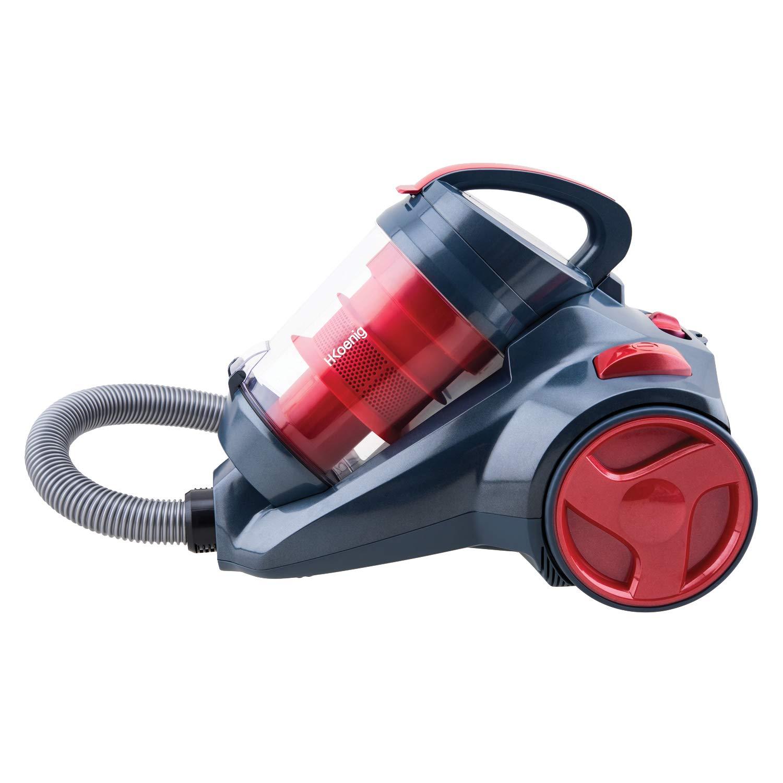 H.KOENIG SLX970 - Aspirador Multi Ciclónico sin bolsa Silence + especial mascotas, Triple A, Filtro HEPA, depósito de 2,5 L, nivel de ruido 76 dB, color Rojo: Amazon.es: Hogar