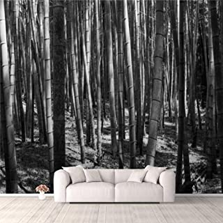 Modern 3D PVC Design Removable Wallpaper for Bedroom Living Room Private bamboo forest in monochrome black and white colou...