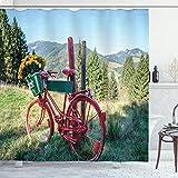 ABAKUHAUS Fahrrad Duschvorhang, Berglandschaft & Bike, mit 12 Ringe Set Wasserdicht Stielvoll Modern Farbfest & Schimmel Resistent, 175x220 cm, Mehrfarbig