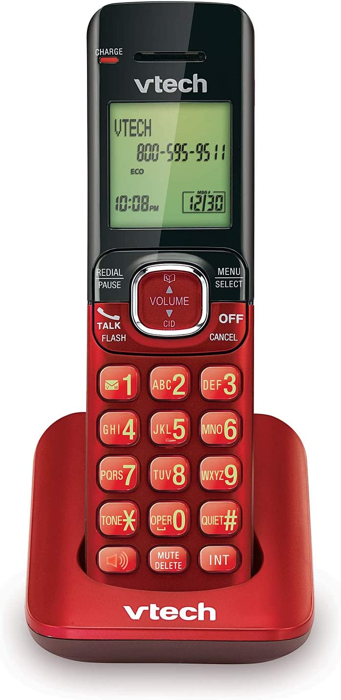 VTech CS6509-16 Accessory Cordless Handset, Red | Requires A CS6519 Or CS6529 Series Cordless Phone System To Operate