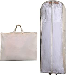 "63"" Bridal Wedding Gown Dress Garment Bag Extra Large Foldable Portable Travel Cover Hanging Luggage with Pockets for Womens, 5.9"" Gusseted"