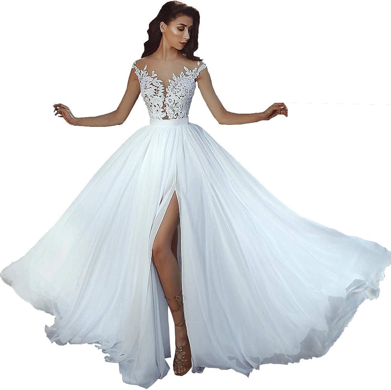 Topquality2016 Women's Illusion Neckline Side Split Lace Wedding Dress for Bride