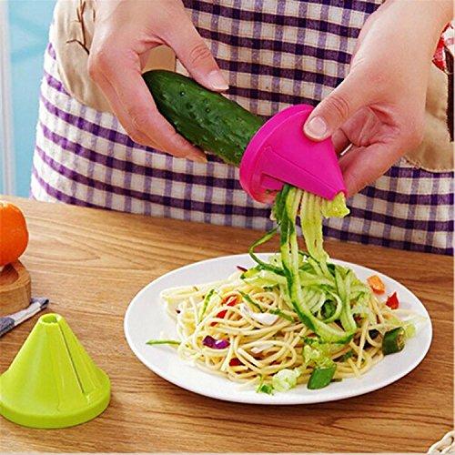 Wekold Spiralizer Verdura Spaghetti Affettatrice Vegetale Palmare Taglierina a Spirale a Mano per Carota, Cetriolo, Patate, Zucca, Zucchine, Spaghetti con Cipolla e Verdure