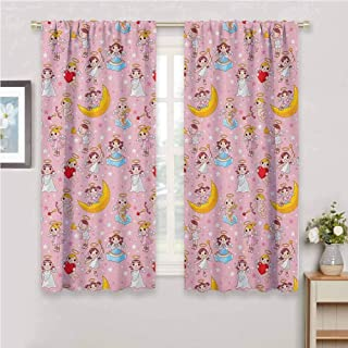 GUUVOR Angel Premium Blackout Curtains Fairies Playing Music Halo Cheerful Supernatural Creatures Nursery Theme Kindergarten Noise Reduction Curtains W84 x L84 Inch Earth Yellow Pale Pink