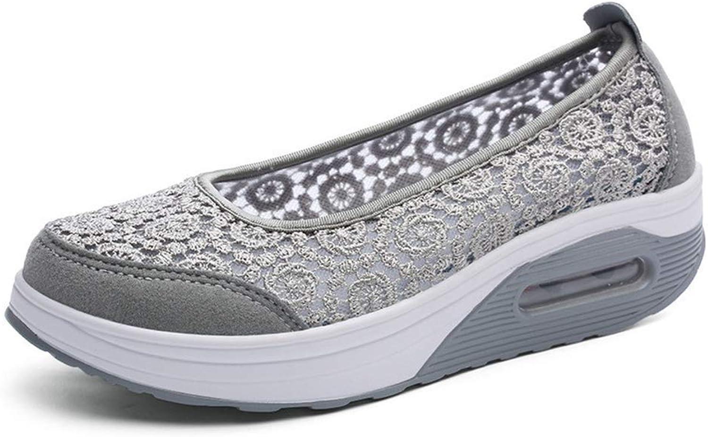 Gcanwea Women Breathable Lace Mid Heel Wedges Platform shoes Female Thick Sole Lazy Sneakers Nurse Plus Size Work shoes Light bluee 5 M US
