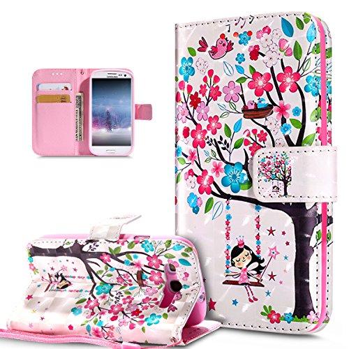 Coque Galaxy S3 Neo / S3 Etui,Modèle papillon peint 3D coloré Etui Housse Cuir PU Portefeuille Folio Flip Case Cover Wallet Coque Étui Poches Case Coque Housse Étui,Oiseaux d'arbre fleur rose