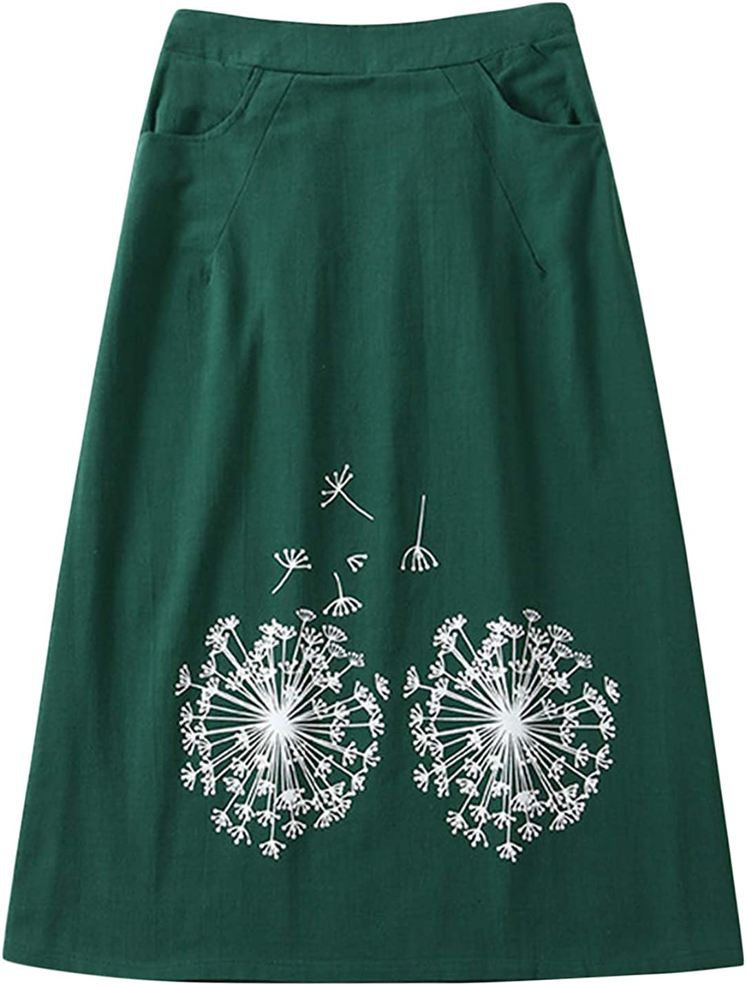 Uaneo Women's Spring Casual Elastic Waist Floral Print Cotton Linen Midi Skirts (Green, X-Small)