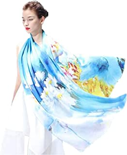 ZCHWU New heavy silk scarf long towel Chinese style ink painting art spring and autumn summer Hangzhou silkworm cheongsam big shawl to send foreigners abroad gifts Intoxication - plain satin long towe