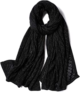 Scarves Scarf Scarves Female Cashmere Scarf Openwork Autumn and Winter Shawl Knit Warm Scarf Fashion Wild Womens Scarf Scarves (Color : Black, Size : 180 * 65cm)