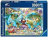 Ravensburger Puzzle 1000 piezas, Mapamundi Disney, Disney, Rompecabezas de calidad, Jigsaw para Adultos