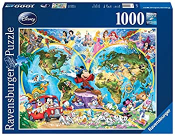 Disney World Map 1000 Piece Jigsaw Puzzle Featuring the entire Disney Family  Disney Princess Donald Duck Mickey Mouse Peter Pan and many more!