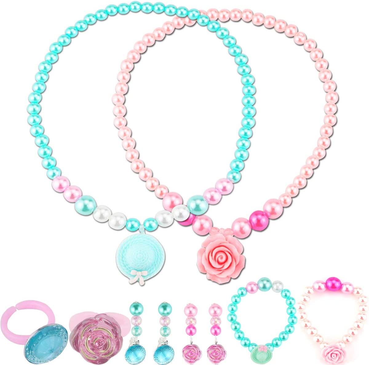 SEAL limited product Nexxxi 2 Set Little Girls Neck Necklaces Princess Lovely Tucson Mall Beaded