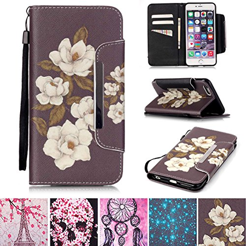 iPhone 5/5S Case, iPhone SE Case, [Kickstand] [Card/Cash Slots] Lightweight PU Leather Wallet Flip Cover with Wrist Strap for Apple iPhone 5/5S SE- Begonia