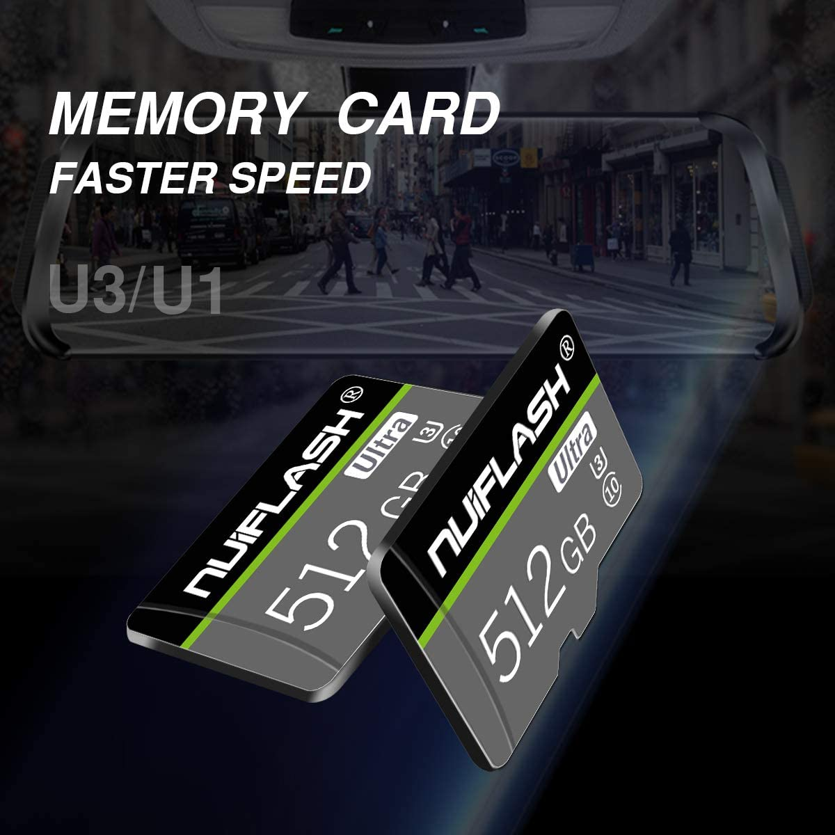 Micro SD Card 512GB Memory Card,TF Card 512GB Class 10 Flash SD Memory Card with Adapter for Mobile Phones,Tablets,Cameras (512GB)