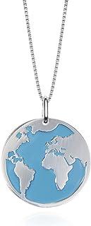 EMPATHY JEWELS Collar Mundo de Plata de Ley con Cadena de Plata 42 cm- Gargantillas Mujer con Colgante de Plata Mapa Mundi...
