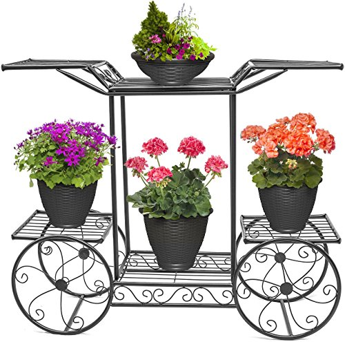 Sorbus Garden Cart Stand & Flower Pot Plant Holder Display Rack, 6 Tiers, Parisian Style – Perfect for Home, Garden, Patio (Black)