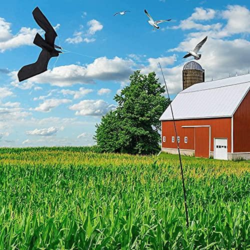 Ahuyentador de pájaros,Espantapajaros Cometa Cometa Espantapajaros Cometa Espantapajaros con Mastil Repelente de pájaros, protección contra los molestos pájaros, Negro, Barra telescópica