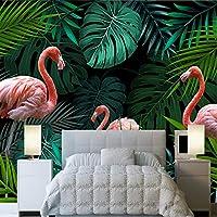 壁紙の壁画大きな壁の絵 カスタム壁画3D壁紙ヨーロッパの手描きの熱帯雨林フラミンゴ牧歌的なリビングルームのソファの背景壁画-400X280cm